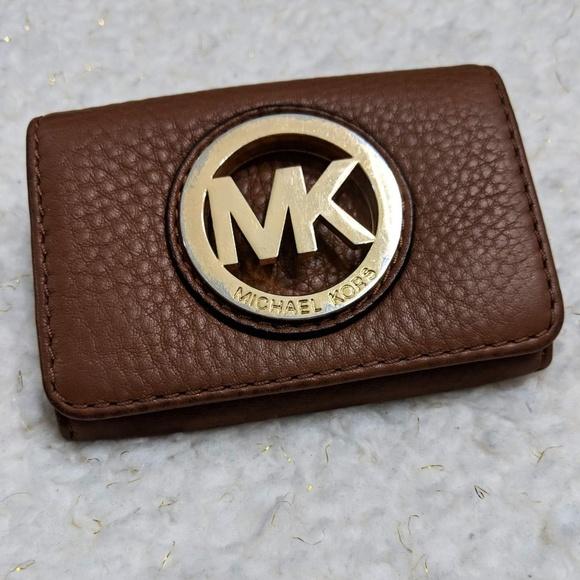 promo code 77be3 4ec9e Michael Kors Leather Fulton Luggage Card Case MK